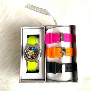 NWT kids frog peace sign interchangeable watch